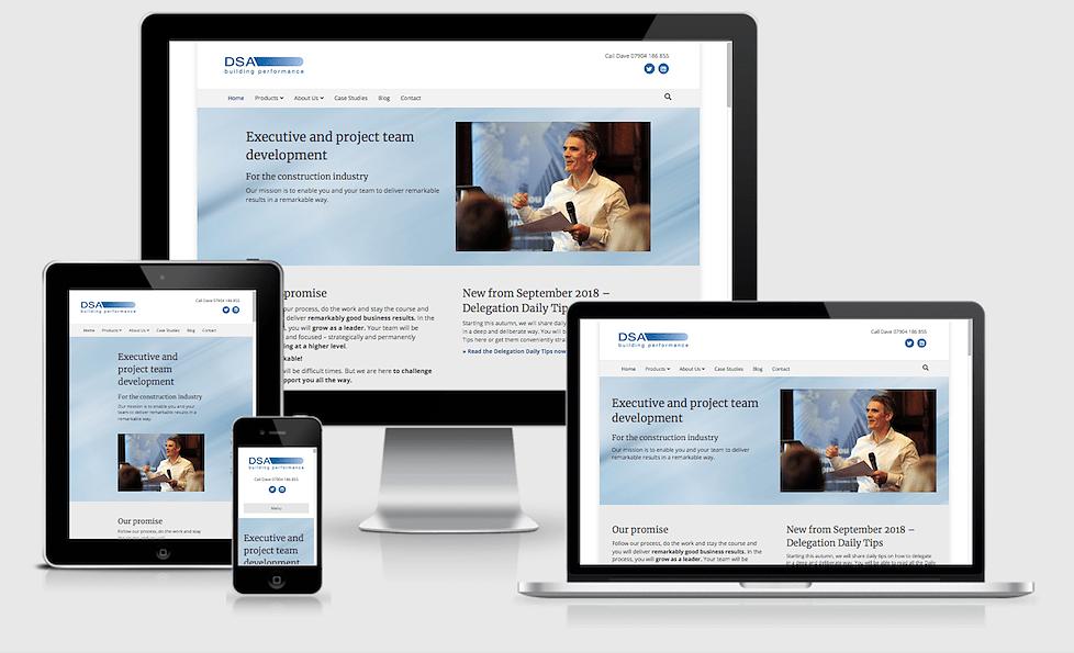 Screenshots der Website DSA Building Performance auf verschiedenen Bildschirmen